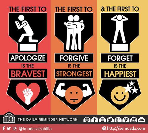 The first to apologize is the bravest Yang pertama meminta maaf adalah yang paling berani The first to forgive is the strongest Yang pertama memaafkan maaf adalah yang paling kuat The first to forget is the happiest Yang pertama melupakan adalah yang paling bahagia